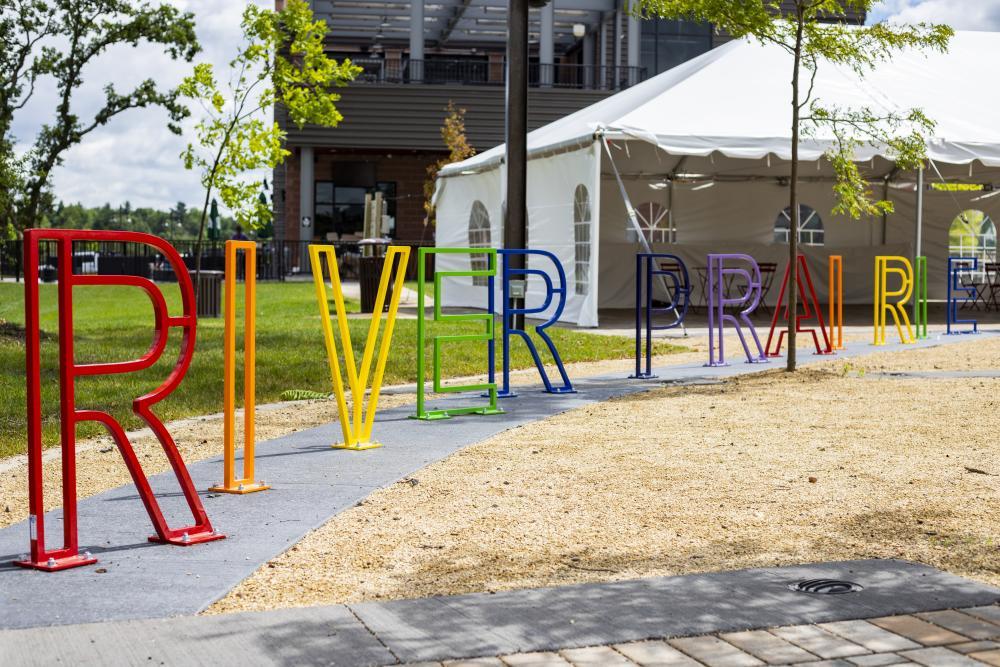 Colorful bike rack in River Prairie in Altoona, WI