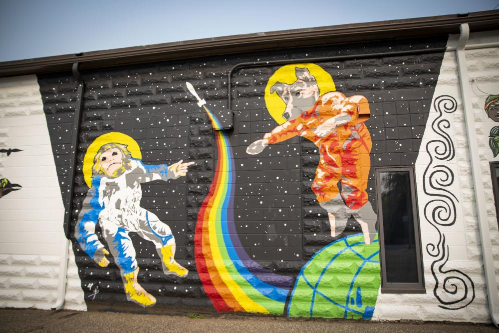 Space Dog and Monkey in Color Block in Downtown Eau Claire