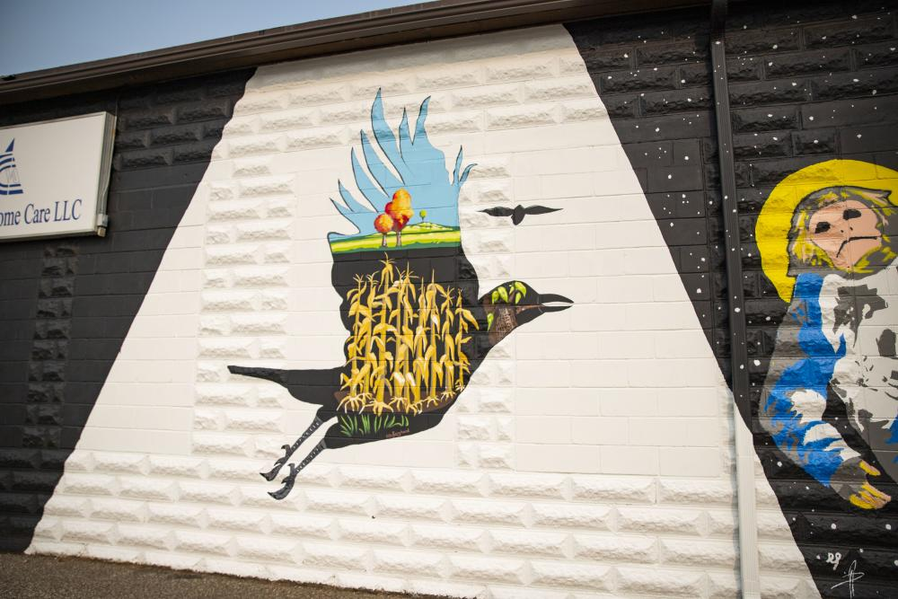 Bird Mural with Corn Stalks in Color Block in Downtown Eau Claire