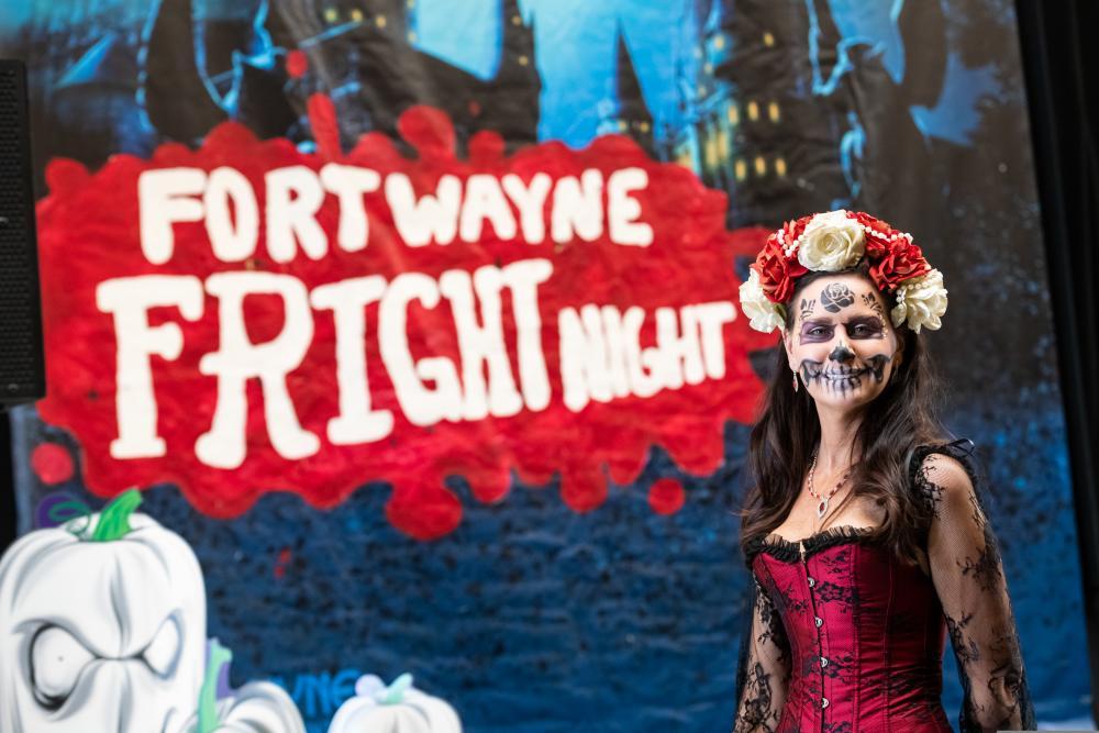 Dia de los Muertos costume at Fright Night
