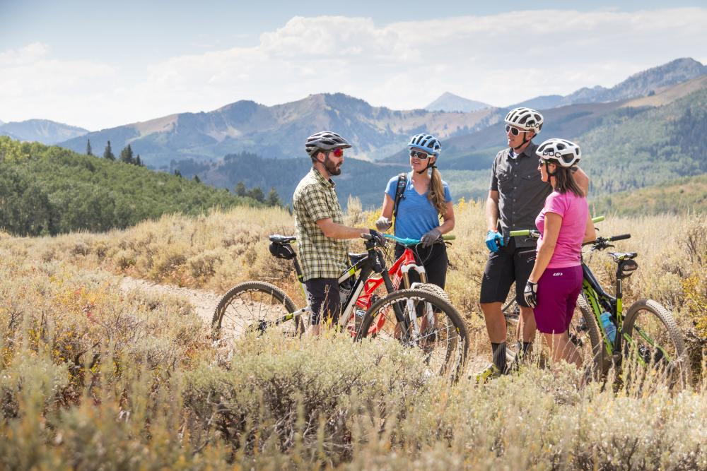 Group of mountain bikers standing and resting on trail