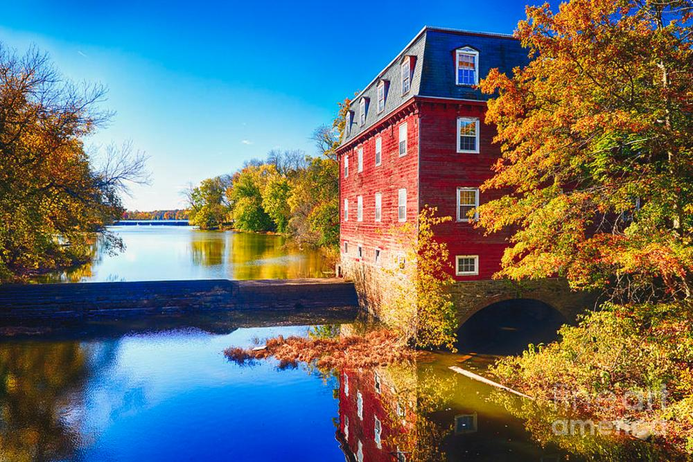 A bright day showcasing the Fall Colors at Kingston Mill