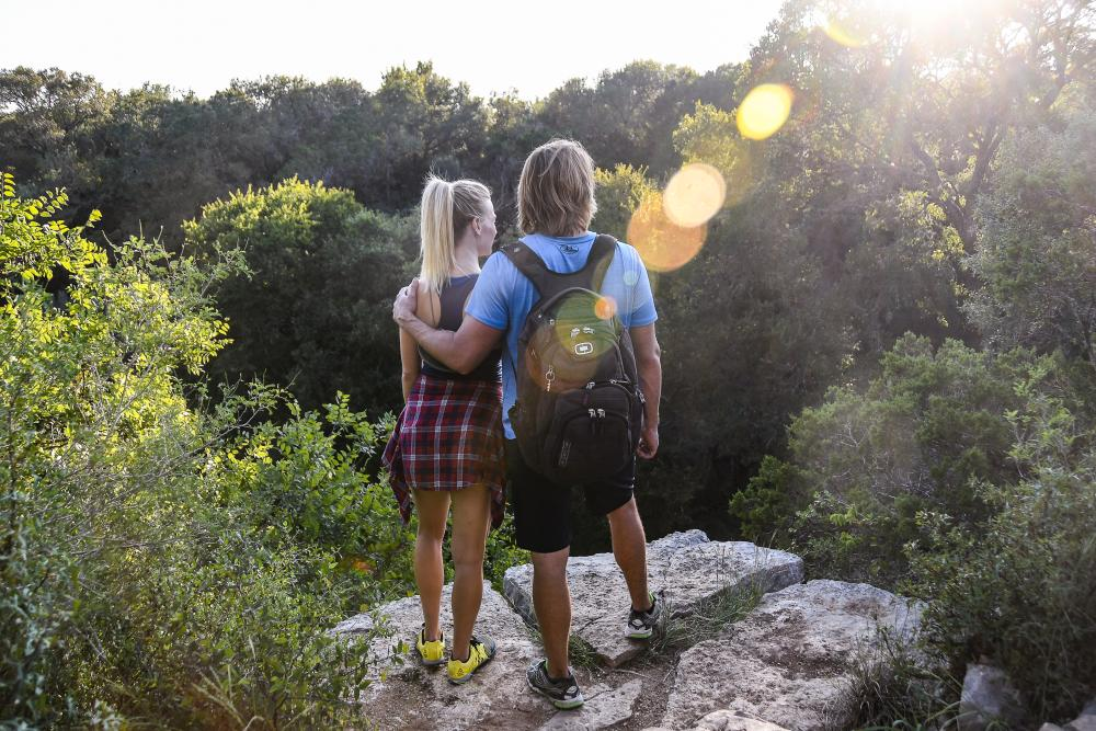 Couple on trails at scenic overlook