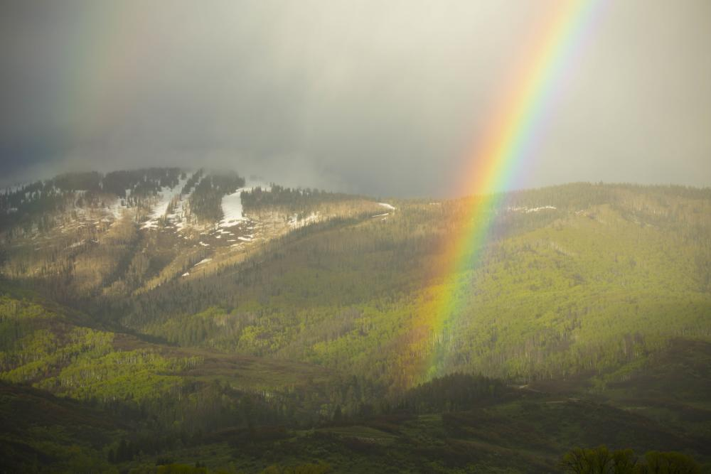 Rainbows are a common sighting in the spring time in Steamboat Springs, Colorado