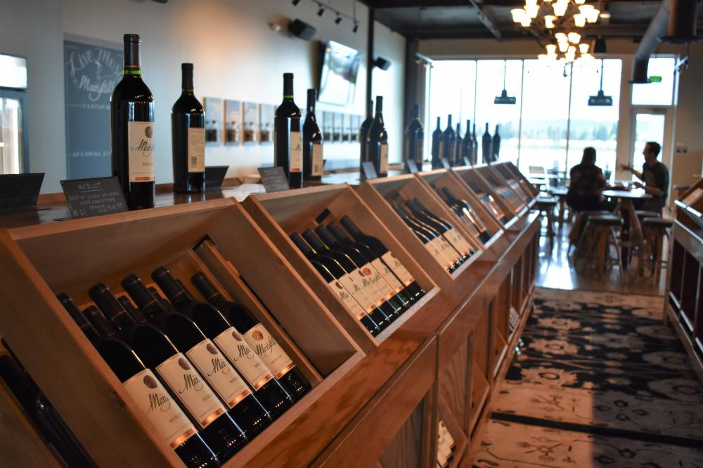 Wine on display at Maryhill Winery in Vancouver, WA