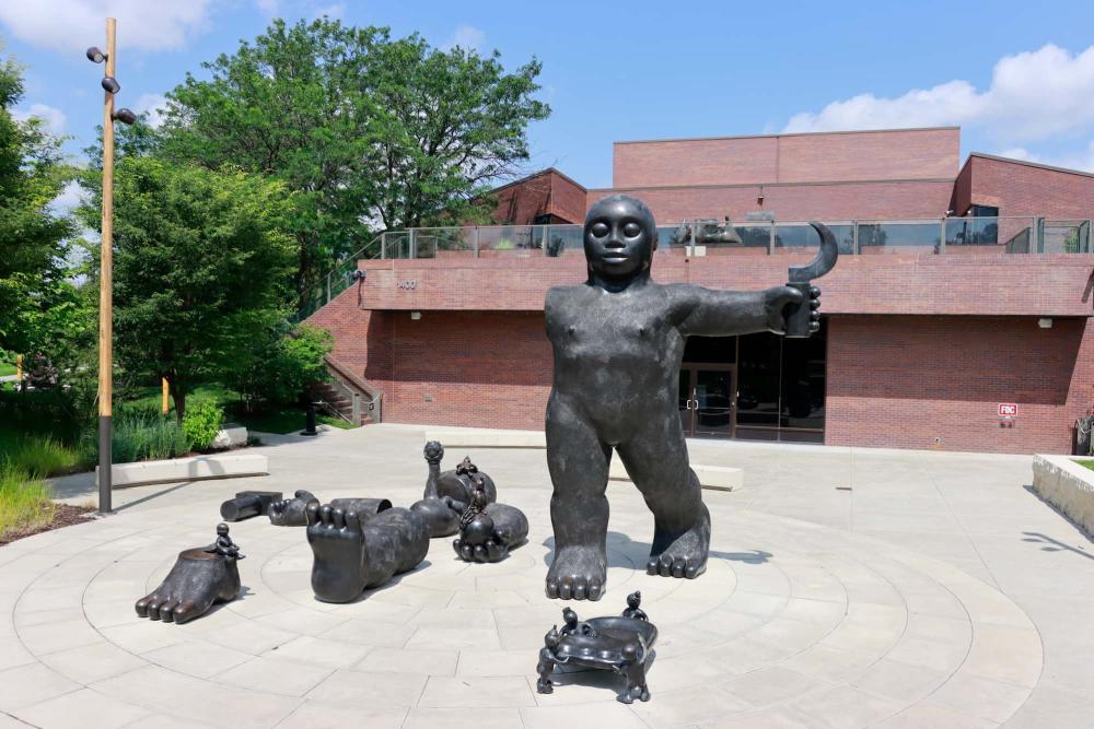 Dreamers Awake Sculpture by Tom Otterness at Wichita Art Museum's Art Garden