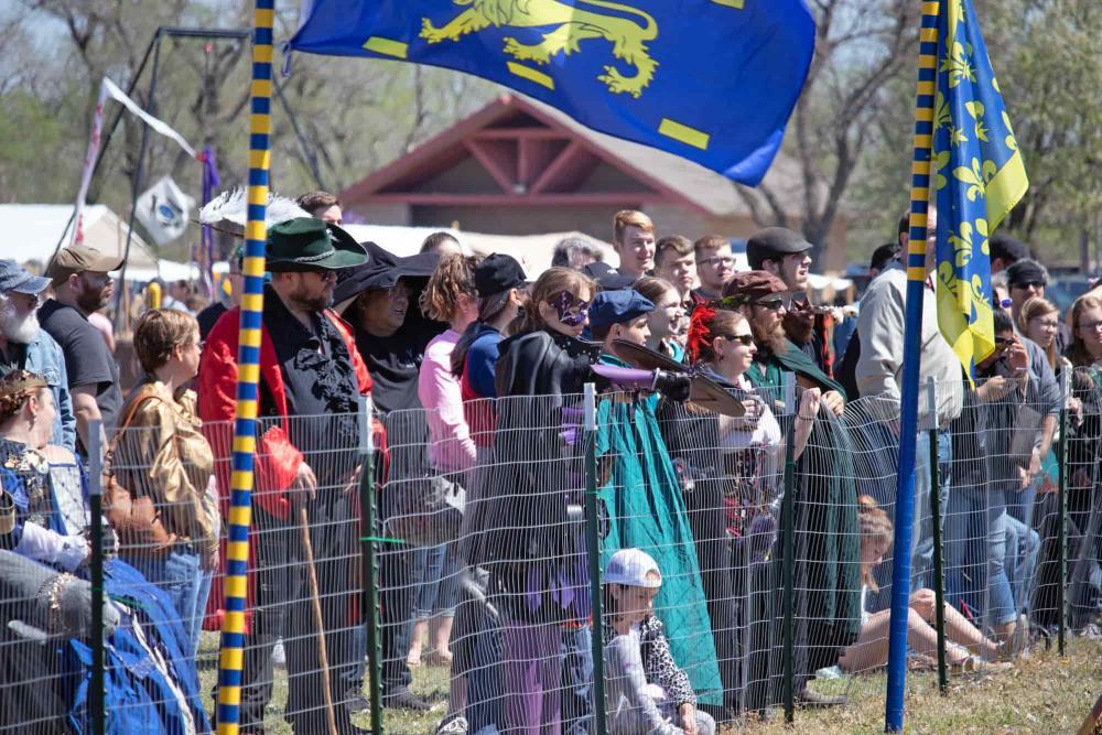 Great Plains Renaissance Faire Attendees Watch the Events