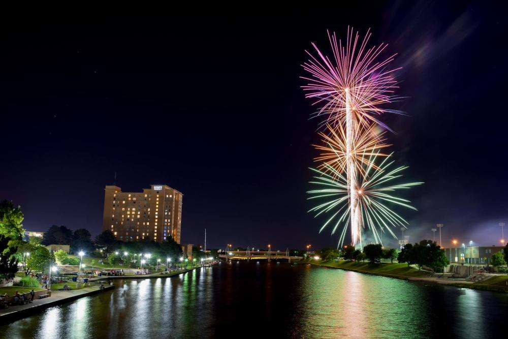 Riverfest Fireworks over the Arkansas River in Wichita