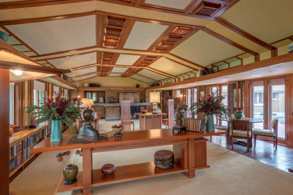 Living Room at Frank Lloyd Wright's Allen House in Wichita