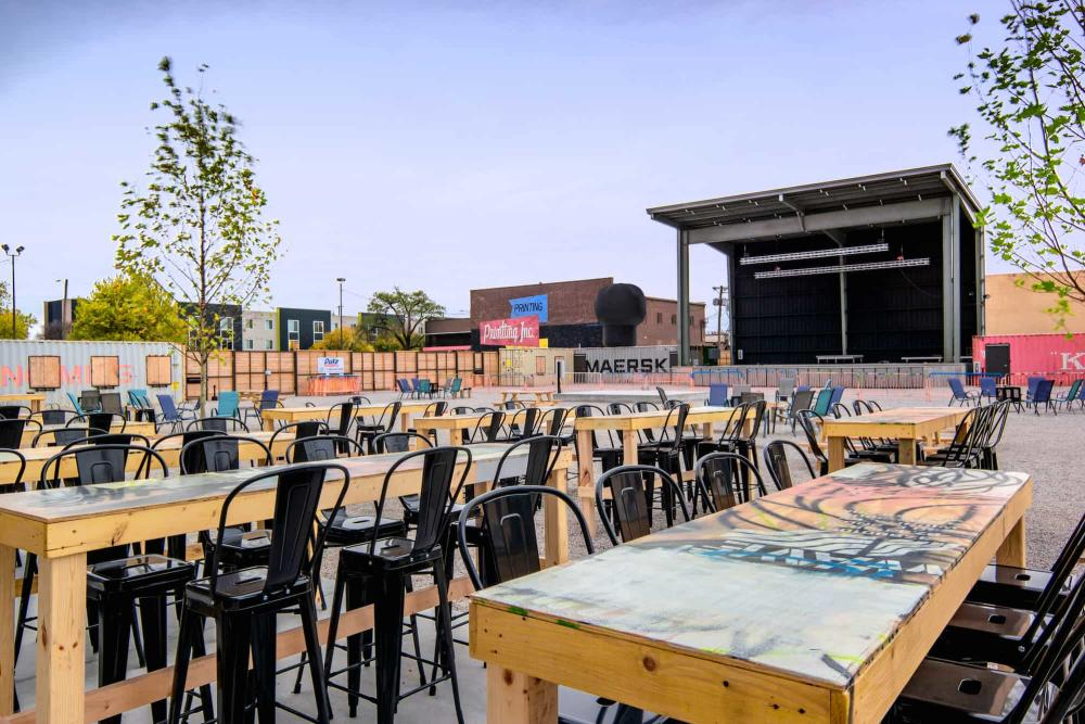 WAVE Outdoor Venue with Tables and Chairs Set Up