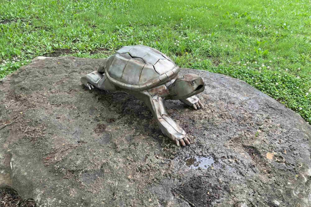 Metal Turtle Sculpture at Chisholm Creek Park in Wichita