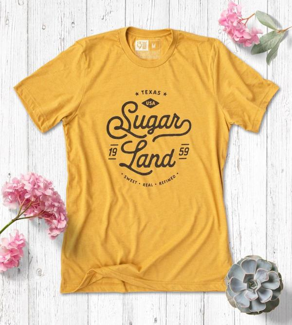 Mustard Sugar Land branded shirt from 139Made.