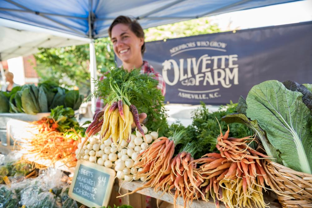 Fresh local produce at a Farmers Market in Asheville, NC
