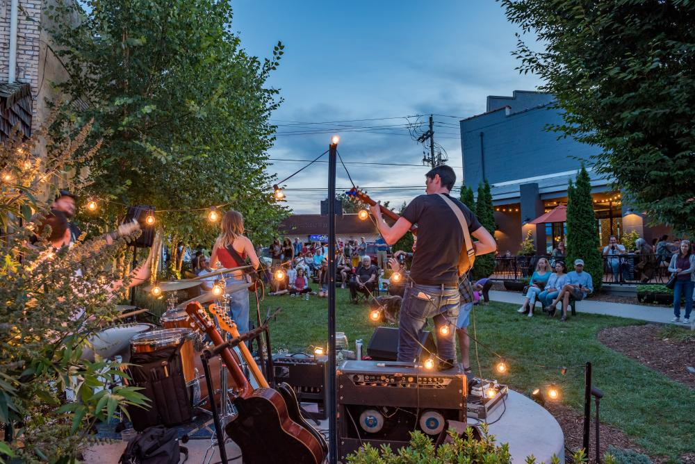 Bands play on the lawn at Isis Music Hall in Asheville, NC