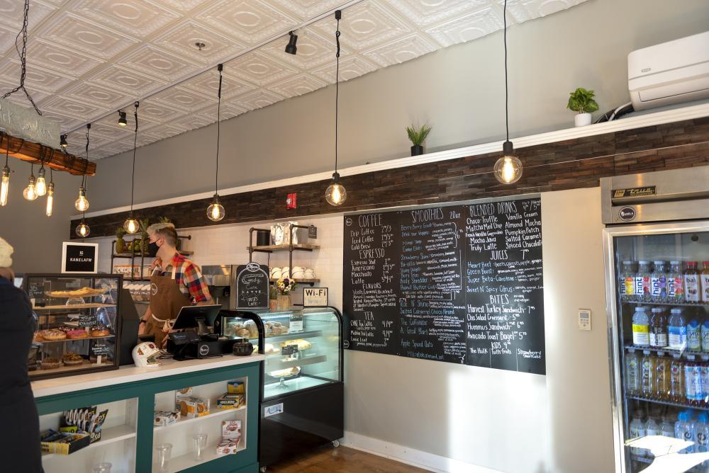 Interior view of Kanela coffee shop in Fort Wayne