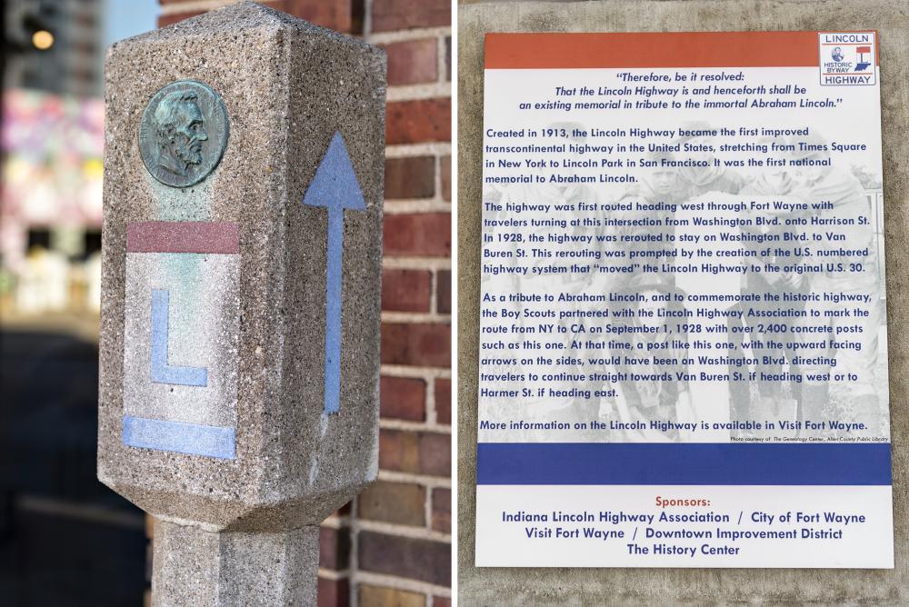 Original Lincoln Highway marker post installed at the Fort Wayne Visitors Center