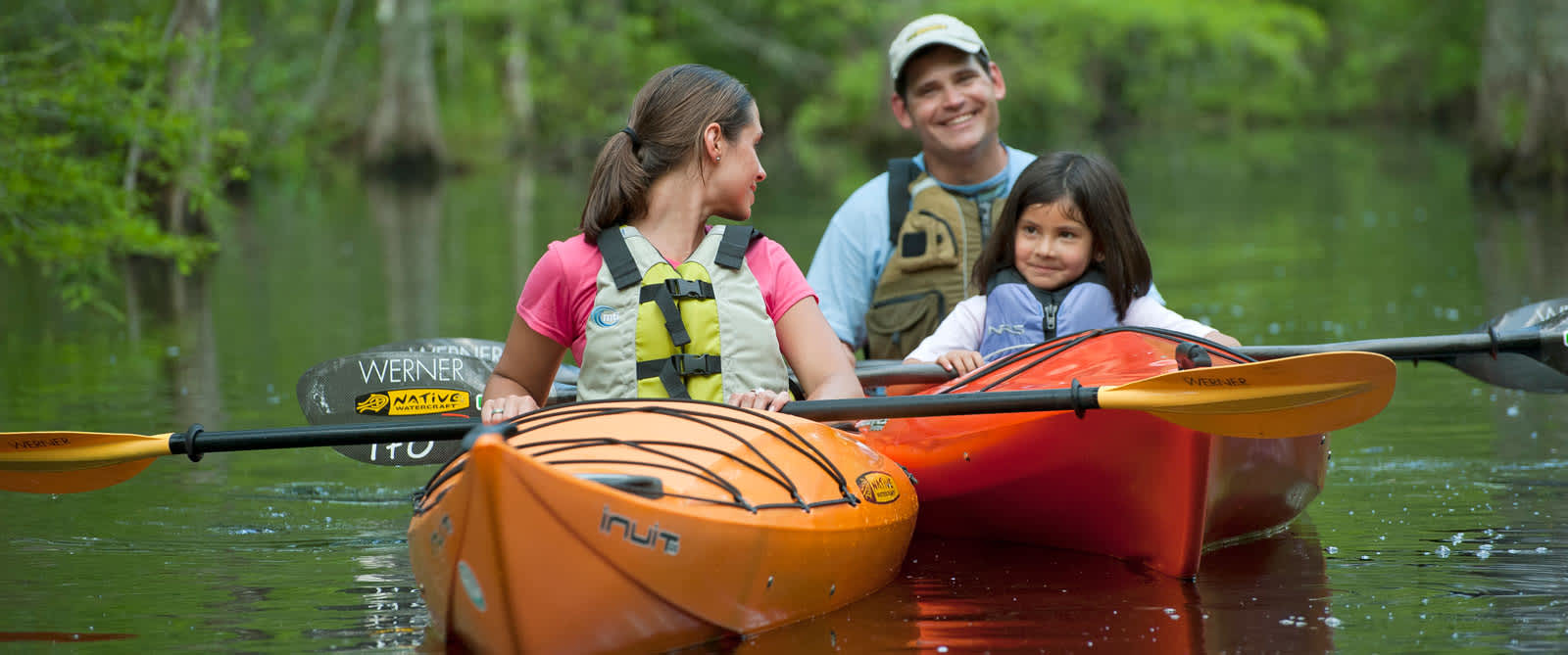 Family in Kayaks