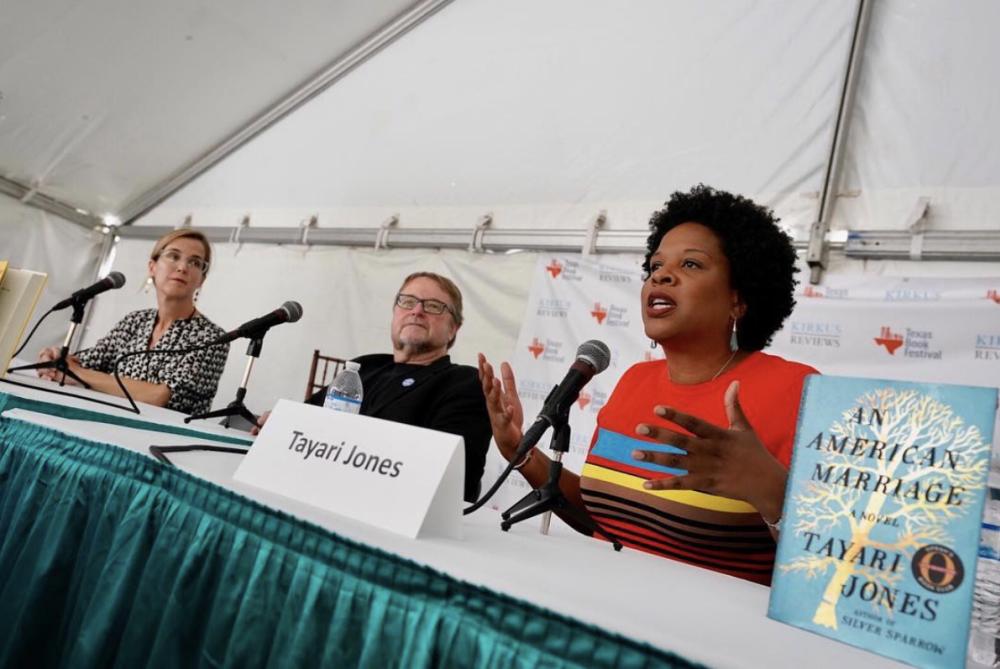 Tayari Jones and authors speaking at Texas Book Festival in austin