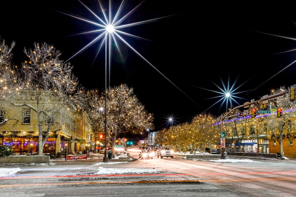College and Mountain Holiday lights downtown