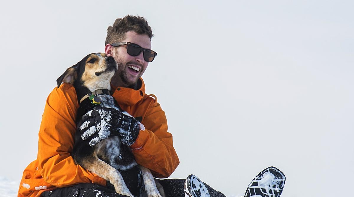 Winter Sledding with Dog