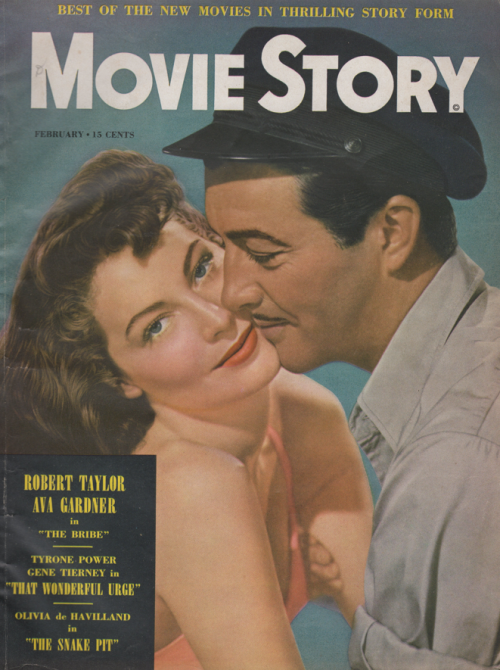 Cover of Movie Story magazine featuring Ava Gardner and Robert Taylor for The Bribe