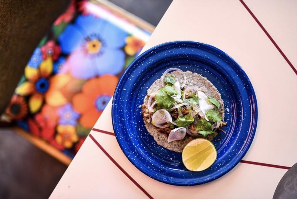 open faced taco from Nixta Taqueria in Austin Texas