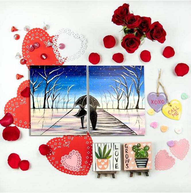 Muse Paint Bar painting kit for two- lovebirds walking in the rain.