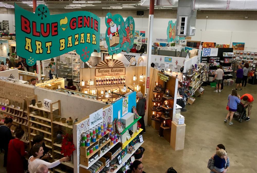 Overhead view of Blue Genie Art Bazaar in Austin Texas
