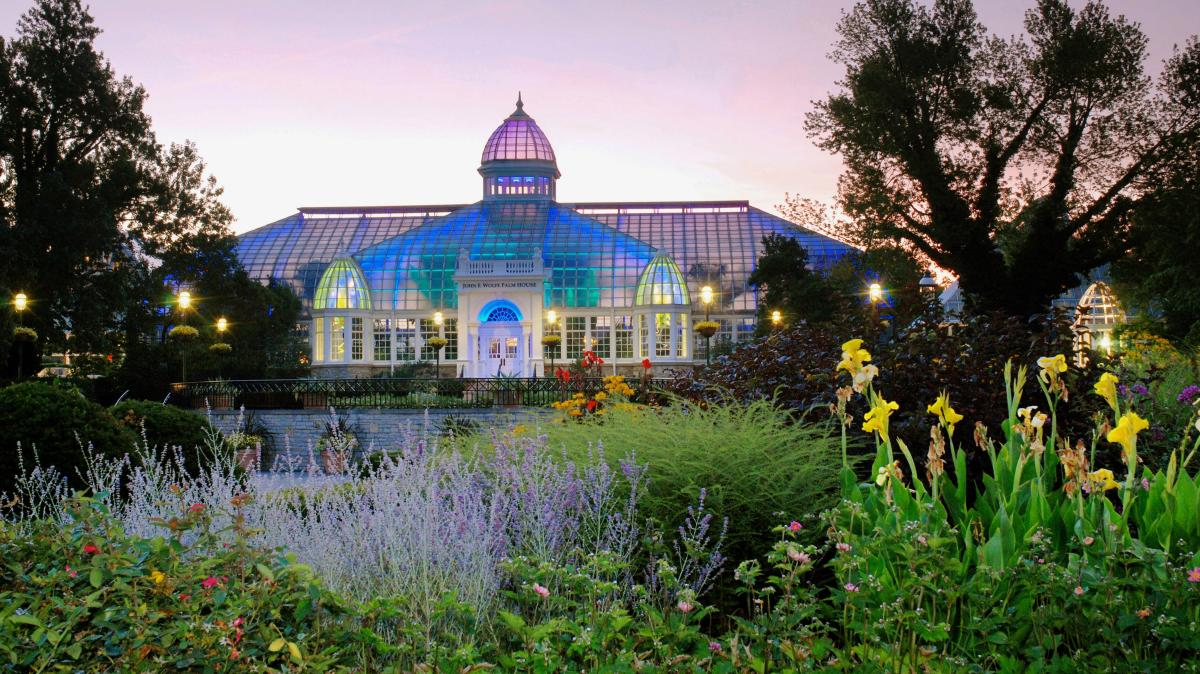 Franklin Park Conservatory at dusk in Columbus