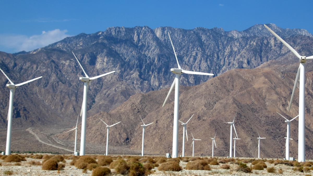 Windmills in front of San Jancinto mountains