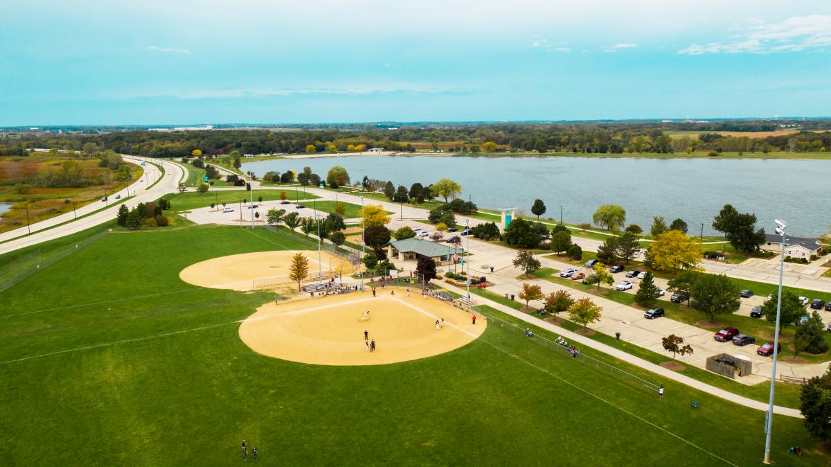 Aerial of South Ball Fields at RecPlex