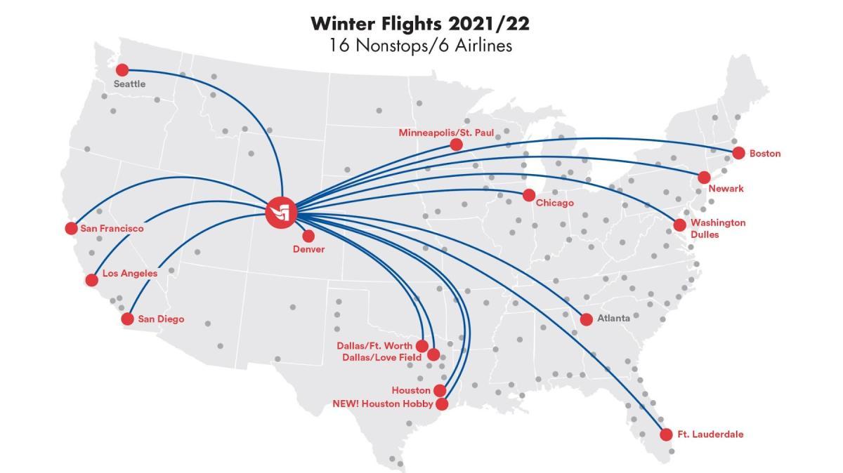 Steamboat Springs Winter Direct Flight Map