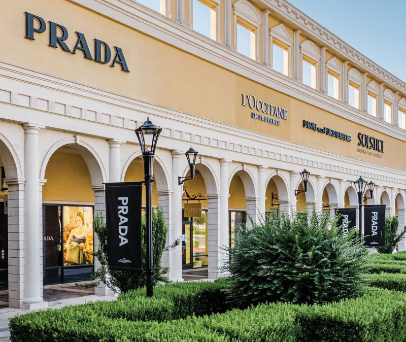 Luxury store brands at outlet center
