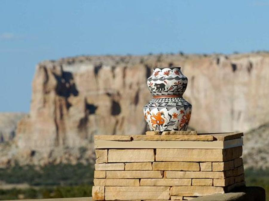 Acoma Pueblo, one hour west of Albuquerque, is famous for elaborately painted pottery.