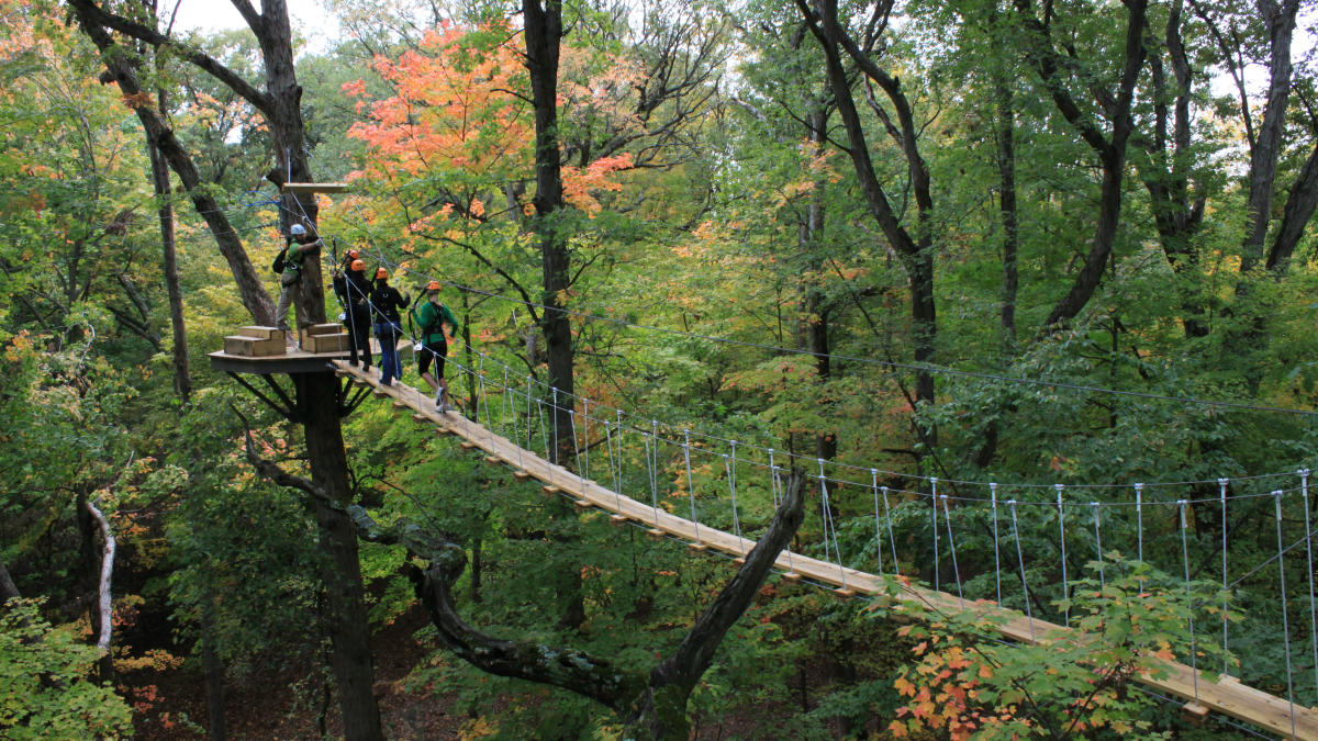 Photo of group zip lining during the fall at Zip Zone in Columbus.