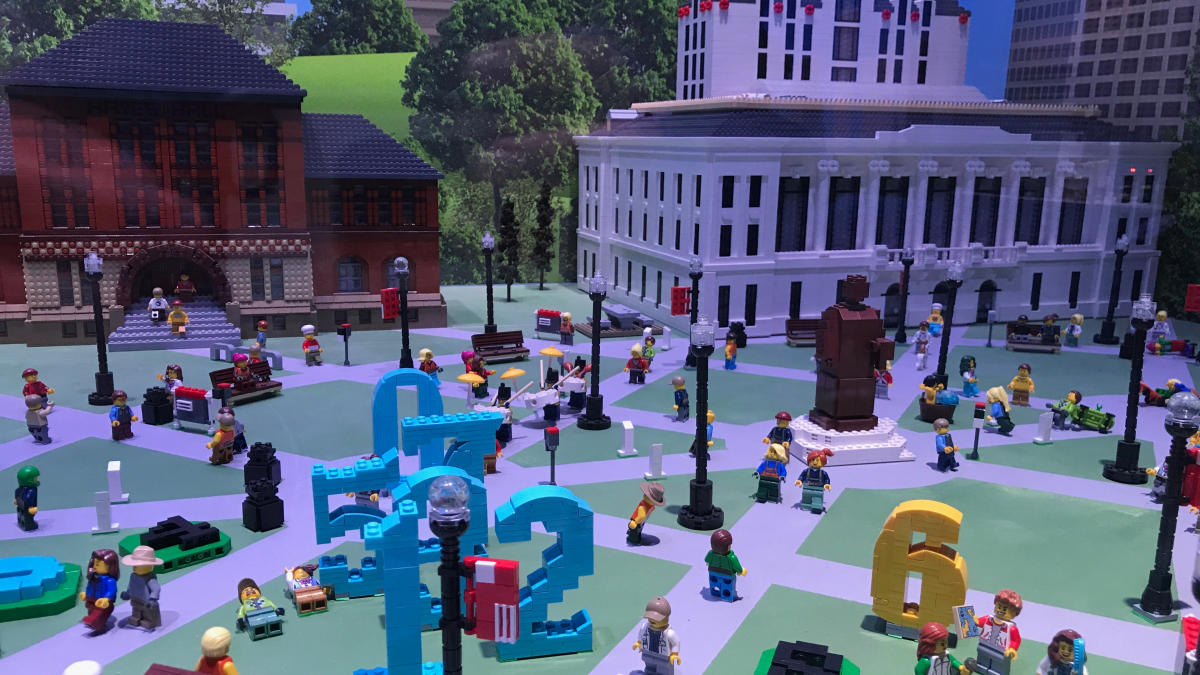 Miniature people and buildings in a city made of Lego bricks inside the LEGOLAND Discovery Center