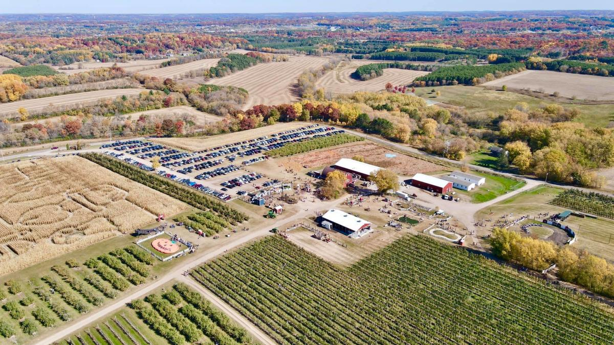 Drone view of Ferguson's Apple Orchard in the fall