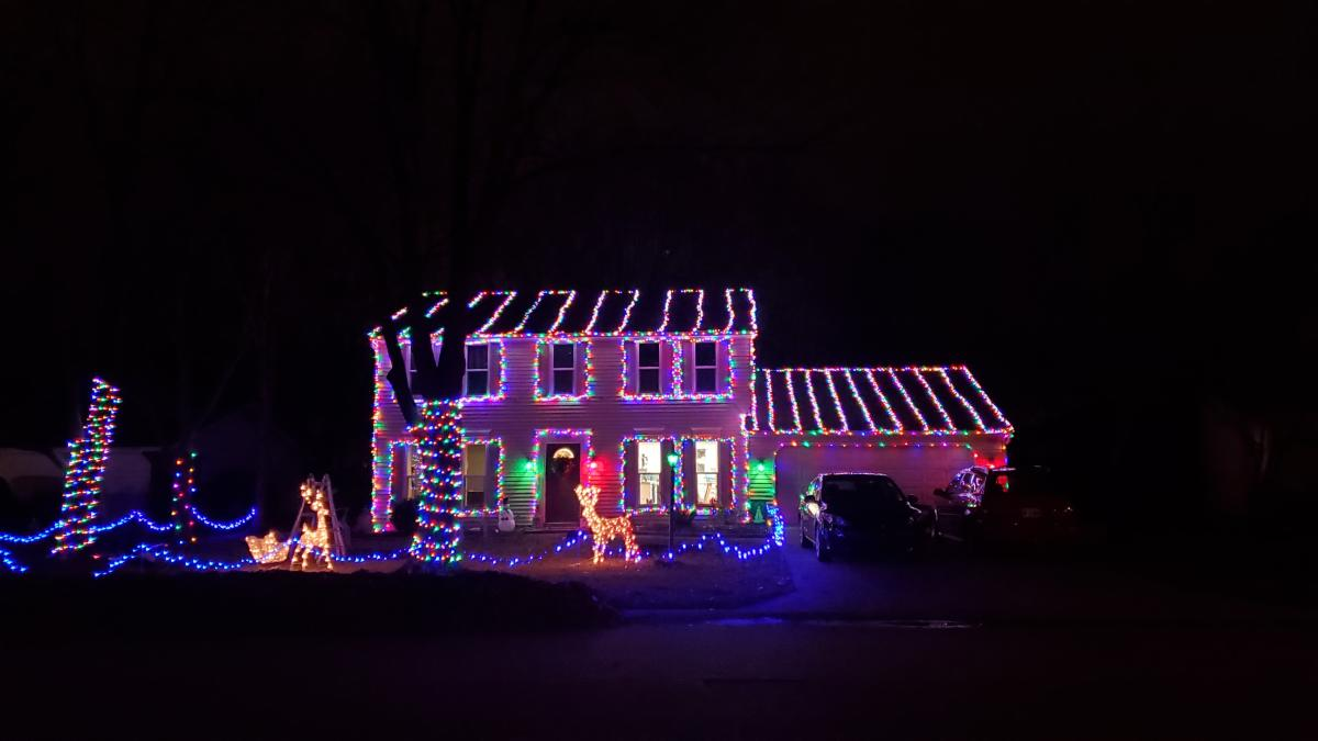 Christmas Light Display at 8129 Redstone Drive in Fort Wayne, Indiana