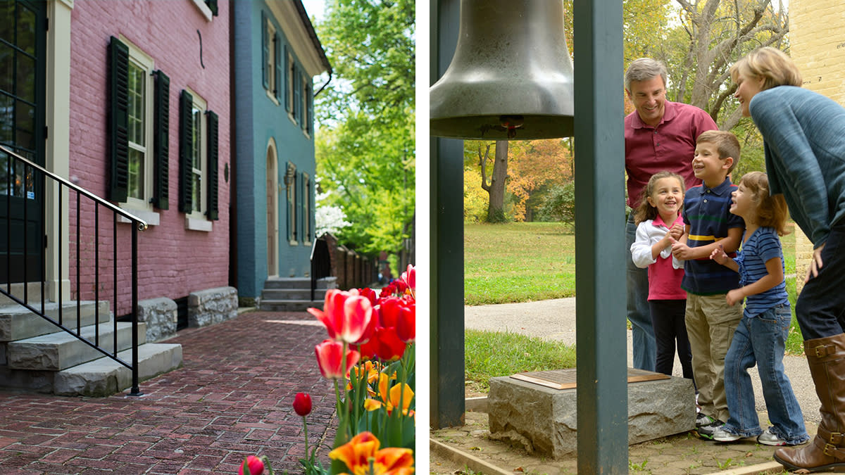 Pink house in historic Gratz Park and a family enjoying the grounds at Ashland, The Henry Clay Estate