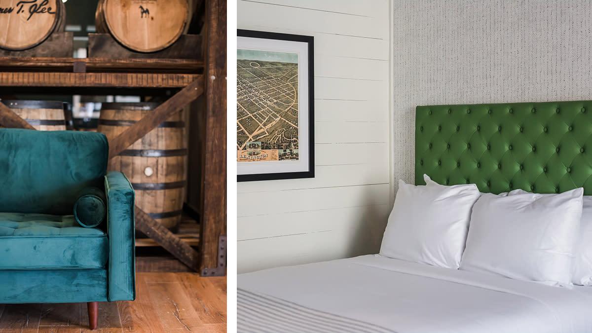 Origin Hotel room and 33 Staves restaurant interiors.