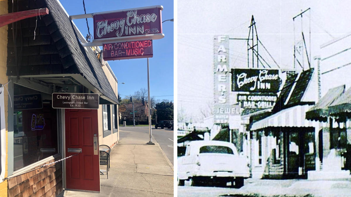 Side-by-side of current Chevy Chase Inn exterior and historic photo.