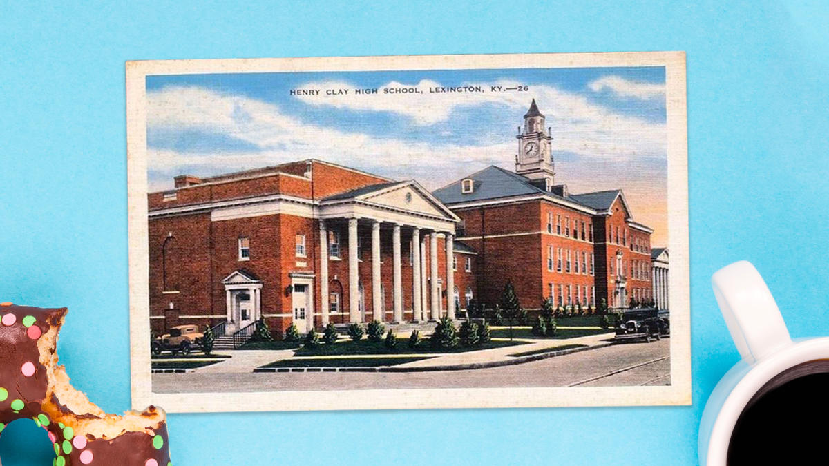 Postcard of the old Henry Clay High School.