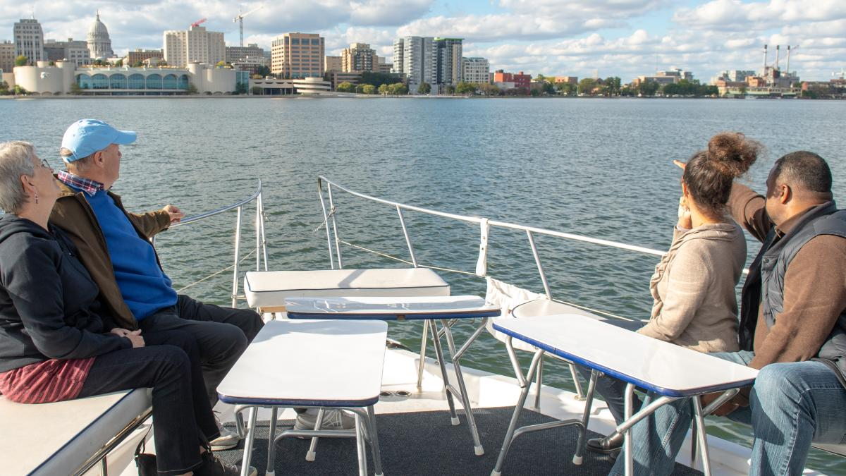 A view of downtown Madison from a Betty Lou Cruise on Lake Monona