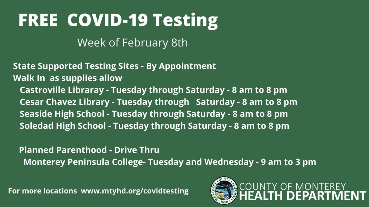 Testing Sites Feb 8th