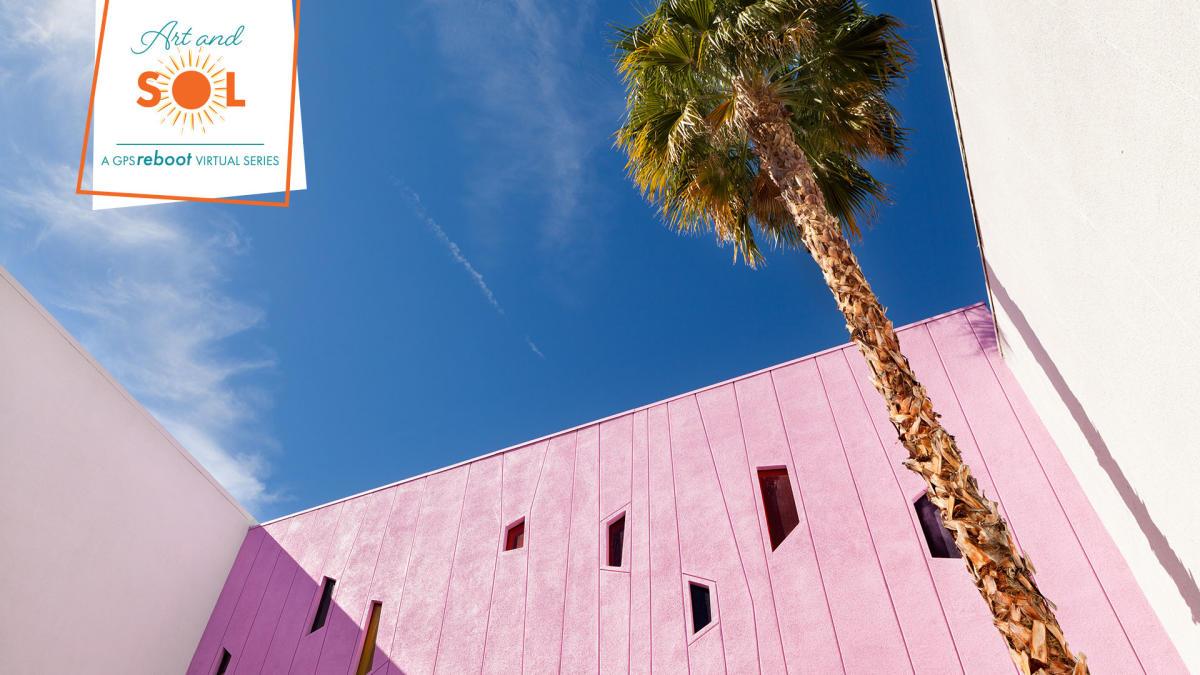 Palm tree and pink saguaro