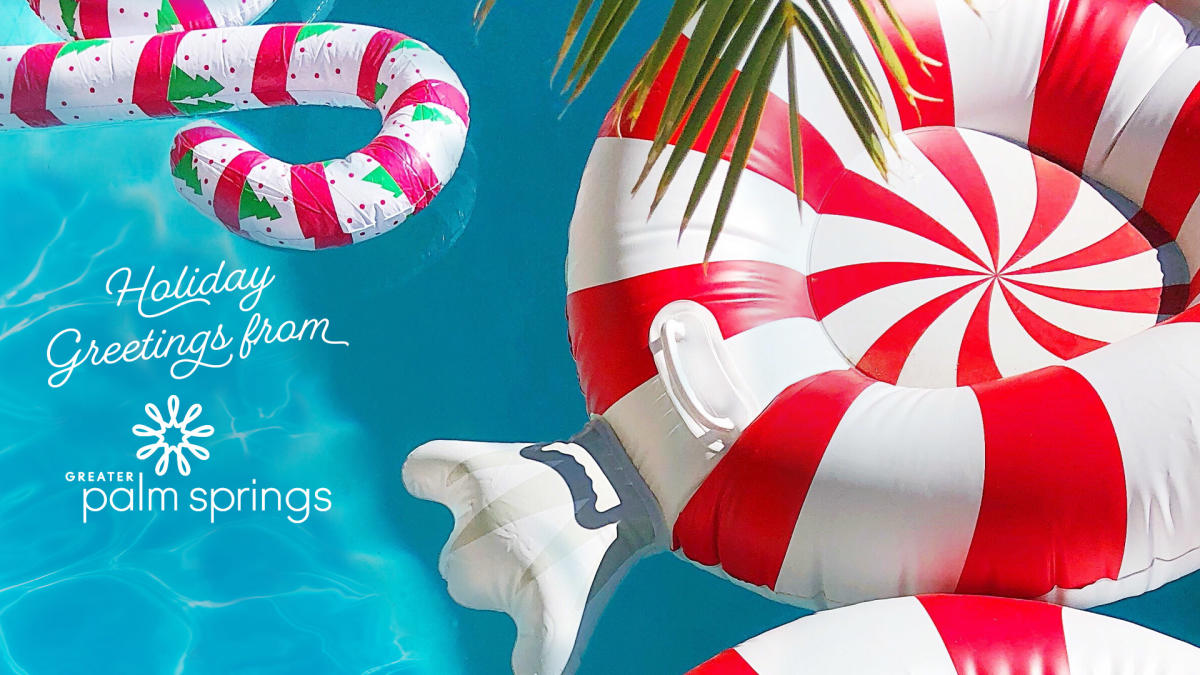 Candy cane floats in the pool.