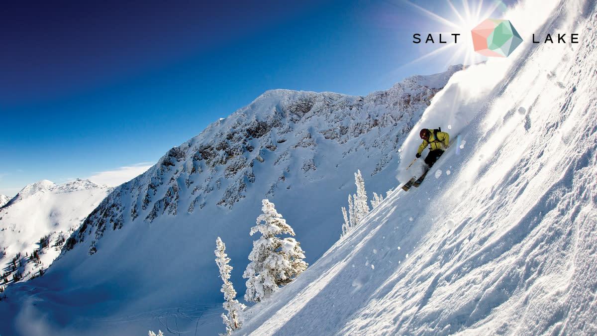 Ski Salt Lake Snowy Mountain Background