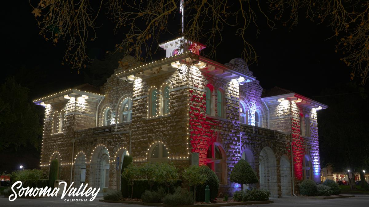 The historic Sonoma City Hall lit up for the holidays