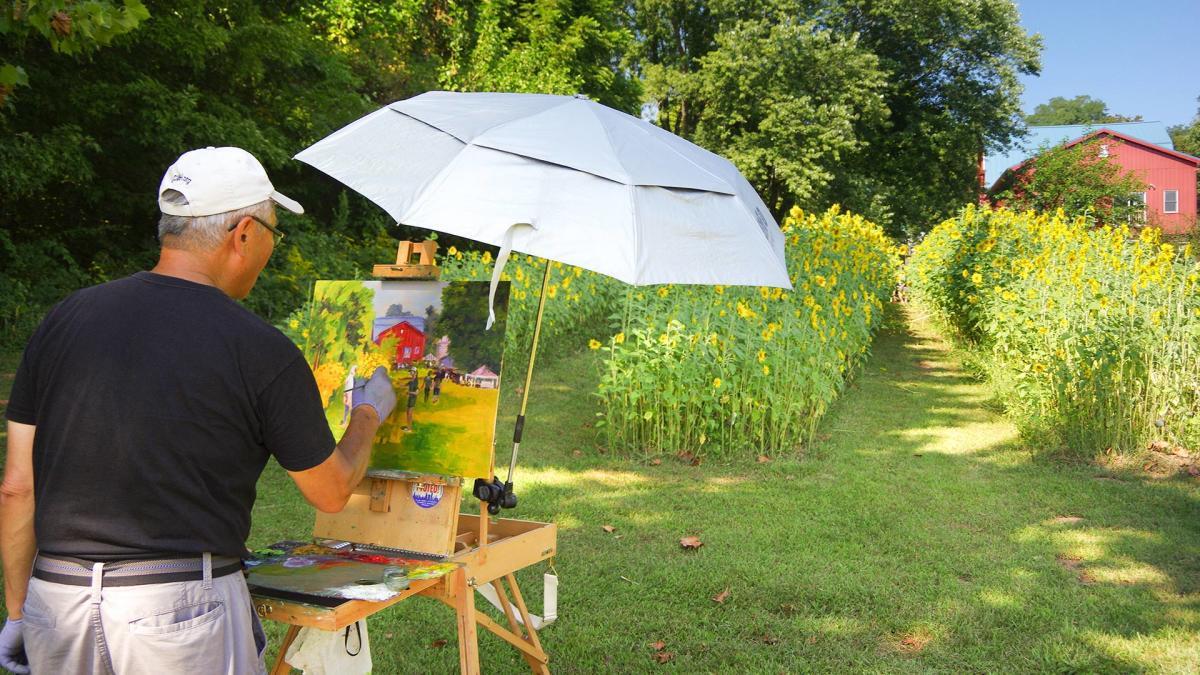 Plein air painter - Art Barn sunflower field