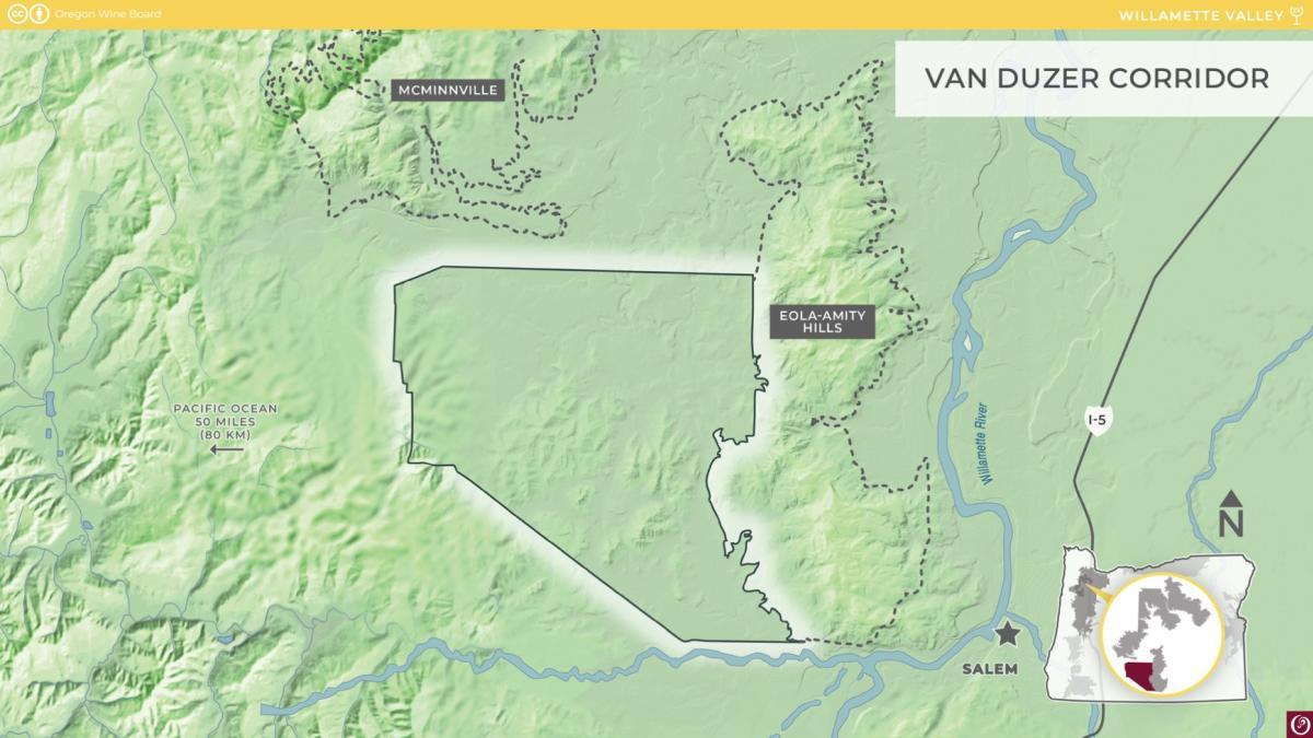 Van Duzer Corridor AVA Map